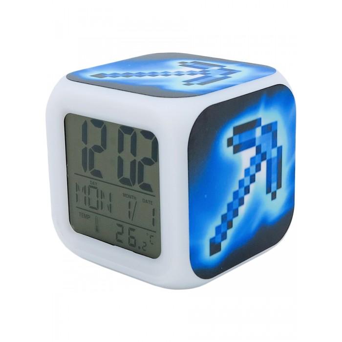 Картинка для Часы Pixel Crew будильник Кирка пиксельные с подсветкой