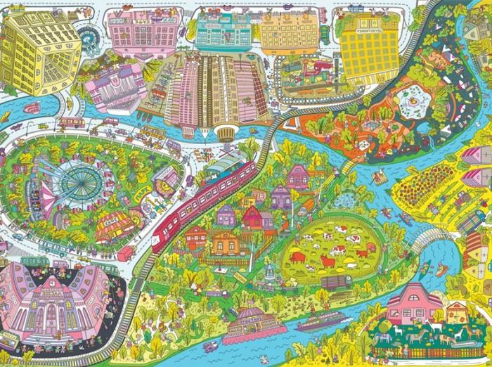 Раскраски VoiceBook гигантская напольная Веселые каникулы: город - деревня А1 в коробке