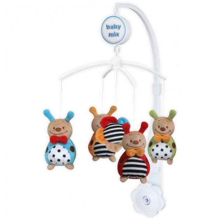 Мобиль Baby Mix Цветные Божьи коровкиЦветные Божьи коровкиМобиль Цветные Божьи коровки - это яркая музыкальная каруселька на кроватку, с которой малыш никогда не будет скучать. Симпатичные игрушки, медленное вращение игрушек, приятная музыка, возможность подсветки - вот отличительные черты этой игрушки.  Особенности: музыкальное сопровождение карусельки ребенок учится следить за подвесными игрушками у малыша активно и в максимально естественной форме развивается зрение кроха получает представление о пространственном положении предметов музыкальное сопровождение развивает слух ребенка разно-фактурные элементы помогут развить мелкую моторику и сенсорику<br>