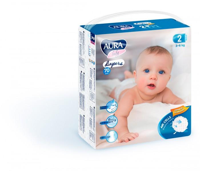 Подгузники Aura Baby mega-pack р.2 S (3-6 кг) 70 шт.