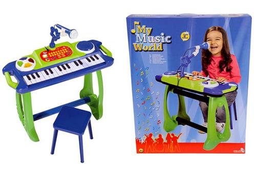 Smoby Синтезатор на подставке со стульчиком, светом и звуком