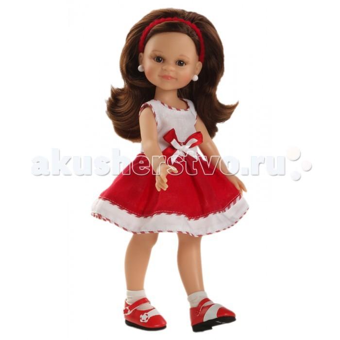 Paola Reina Кукла Клео 32 см 04640Кукла Клео 32 см 04640Очень улыбчивая и миленькая куколка Клео Paola Reina – стильная девочка с шикарными густыми волосами. От такой куколки ребенок будет в таком восторге, что не захочет выпускать из рук.  У куклы Paola Reina нежный ванильный аромат, уникальный и неповторимый дизайн лица и тела, ручная работа (ресницы, веснушки, щечки, губы, прическа), волосы легко расчесываются и блестят, глазки не закрываются, ручки, ножки и голова поворачиваются.   Клео одета в воздушное короткое платьице без рукавов с пышной юбкой. Сочетание бело-красных цветов, красная лента в волосах. На ножках красные туфельки и белые носочки.  Материалы: кукла изготовлена из винила глаза выполнены в виде кристалла из прозрачного твердого пластика волосы сделаны из высококачественного нейлона. Высота куклы 32 см.<br>