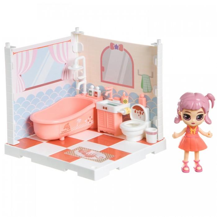 Фото - Кукольные домики и мебель Bondibon Игровой набор Кукольный уголок Ванная и куколка Oly кукольные домики и мебель наша игрушка игровой набор кукольный домик 12 предметов