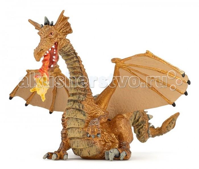 Игровые фигурки Papo Игровая реалистичная фигурка Золотой дракон с пламенем