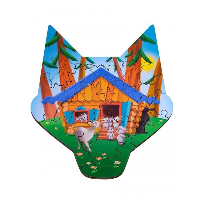 Деревянные игрушки Clever Energy Развивающий пазл Волк и семеро козлят