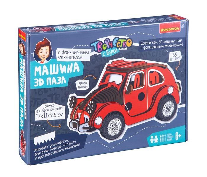 Купить Пазлы, Bondibon Набор для творчества 3D-пазл Красная машина (65 деталей)
