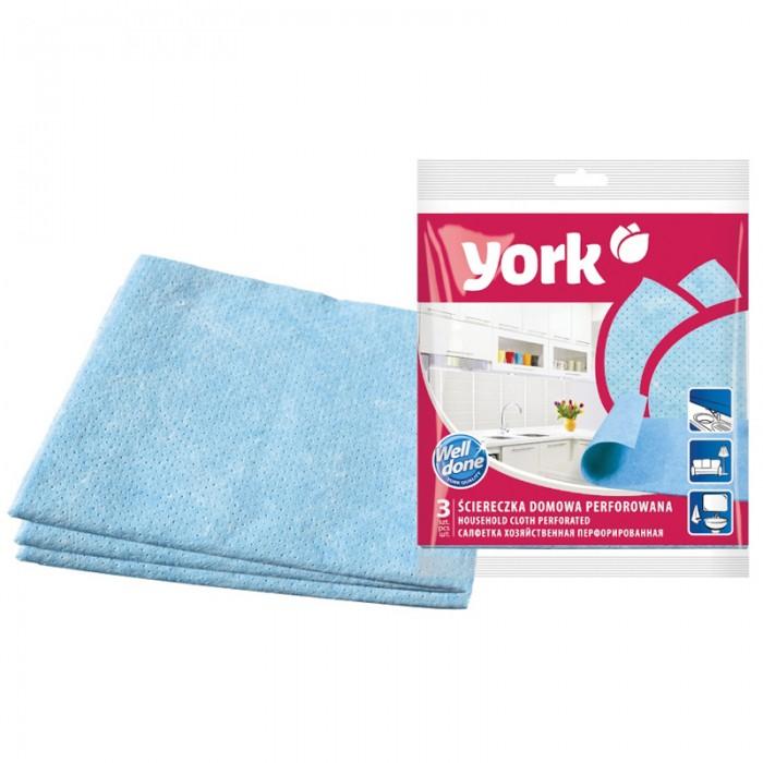 Хозяйственные товары York Салфетки для уборки перфорированные 3 шт. салфетки для влажной уборки белая кветка солнечная поляна 3 шт