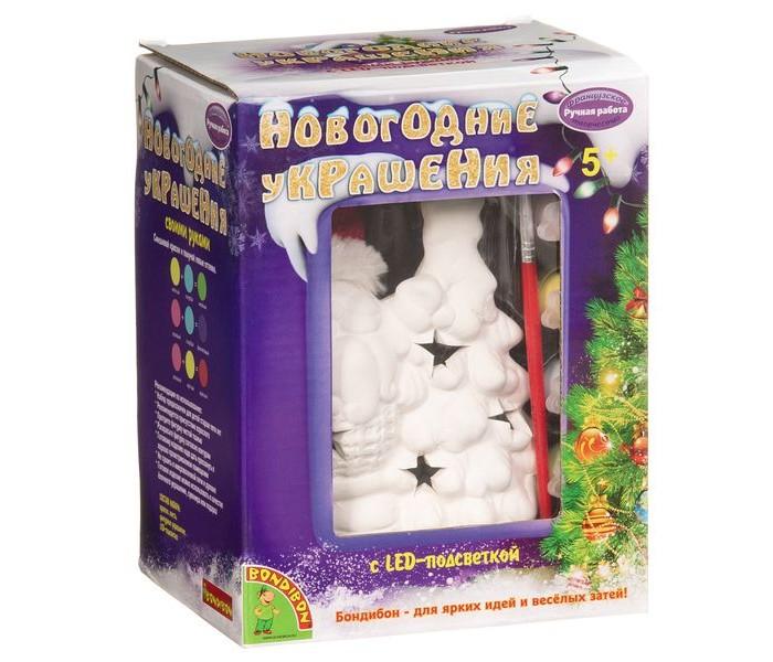Купить Заготовки под роспись, Bondibon Набор для творчества Новогодние украшения сувенир Дед Мороз с подсветкой LED