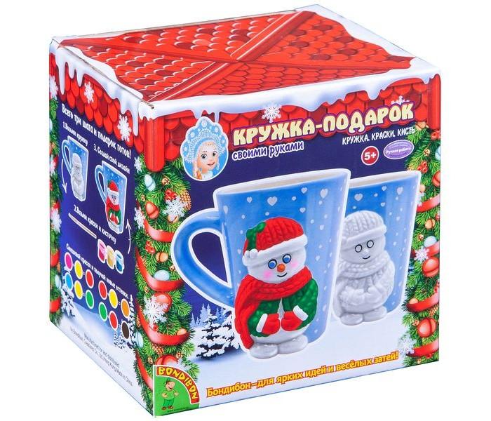 Заготовки под роспись Bondibon Набор для творчества Кружка-подарок: Снеговичок