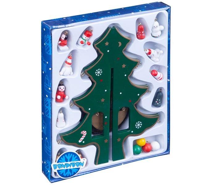 Купить Наборы для творчества, Bondibon Набор Деревянная ёлочка с 3D-игрушками 22, 5 см