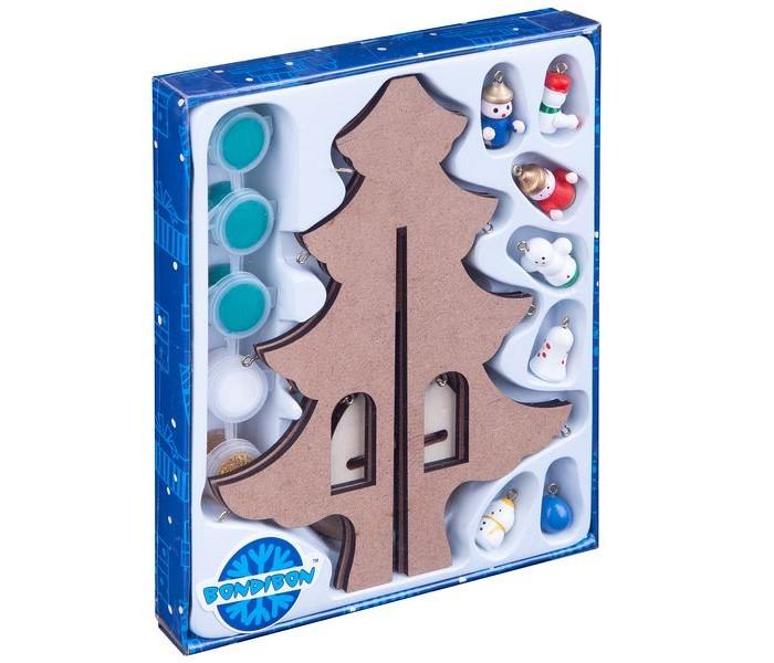 Bondibon Набор для творчества Новогодняя ёлочка-раскраска с игрушками 23 см