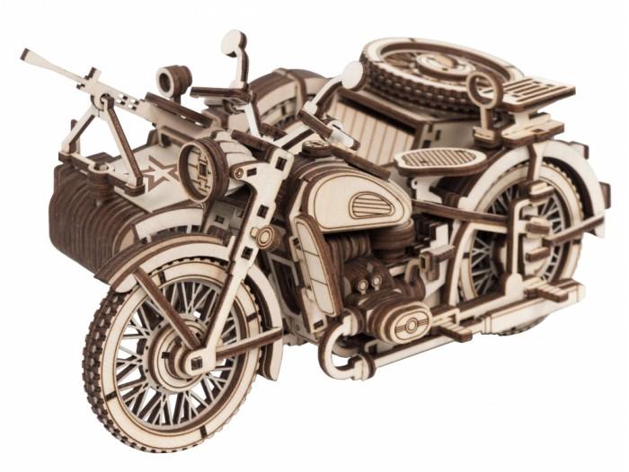 d lex деревянный конструктор мотоцикл с коляской звуковые эффекты Сборные модели Армия России Конструктор из дерева Мотоцикл с коляской