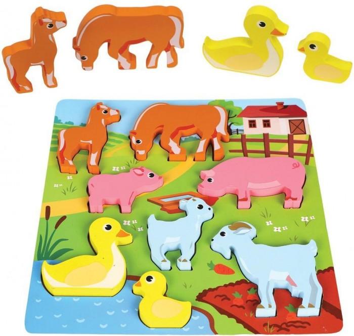 Деревянные игрушки Mapacha Вкладыши Кто чей малыш Животные фермы