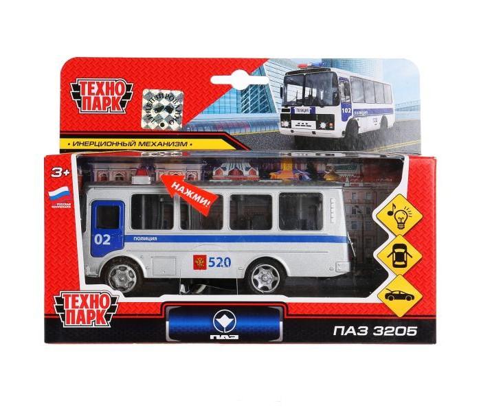 Технопарк Инерционная машина Автобус ПАЗ-3205 Полиция со светом и звуком