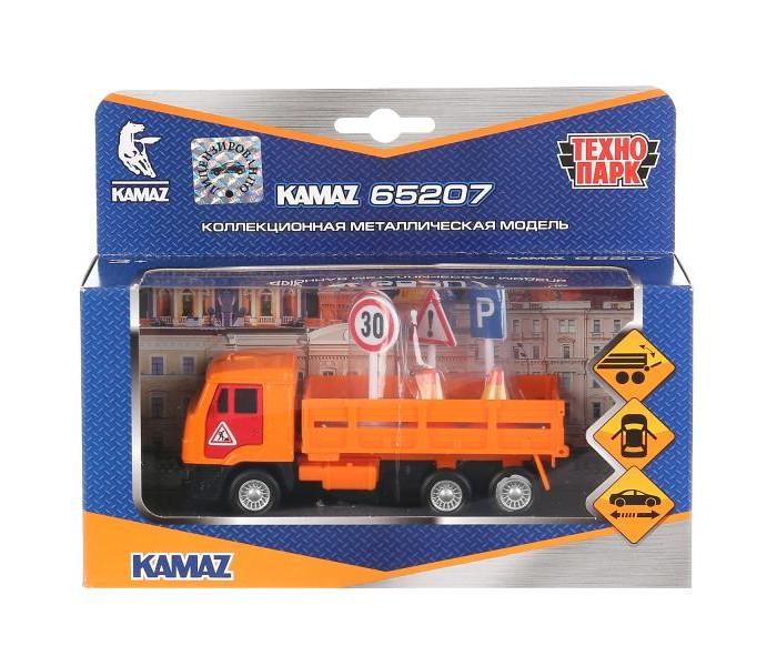 Фото - Машины Технопарк Инерционная машина Камаз с дорожными знаками бульдозер технопарк с дорожными знаками u1408a 4 12 5 см оранжевый