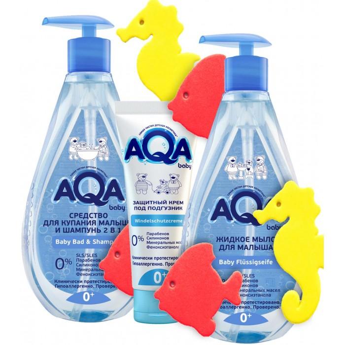 Фото - Косметика для новорожденных AQA baby Средство для купания и шампунь 2 в 1 250 мл, жидкое мыло 250 мл, защитный крем под подгузник 75 мл свобода крем мылоsvoboda baby длямладенца 250 мл