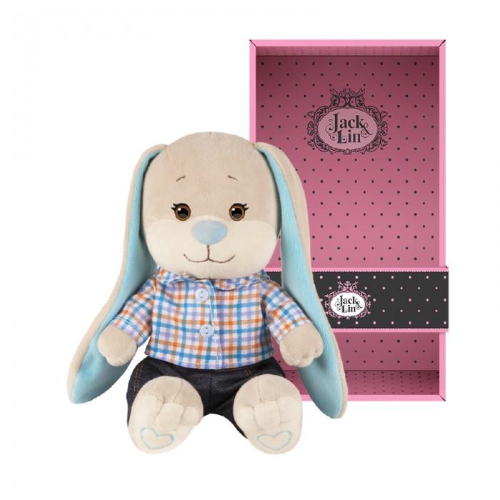 Мягкая игрушка Jack&Lin Зайчик в клетчатой рубашке и джинсах 20 см