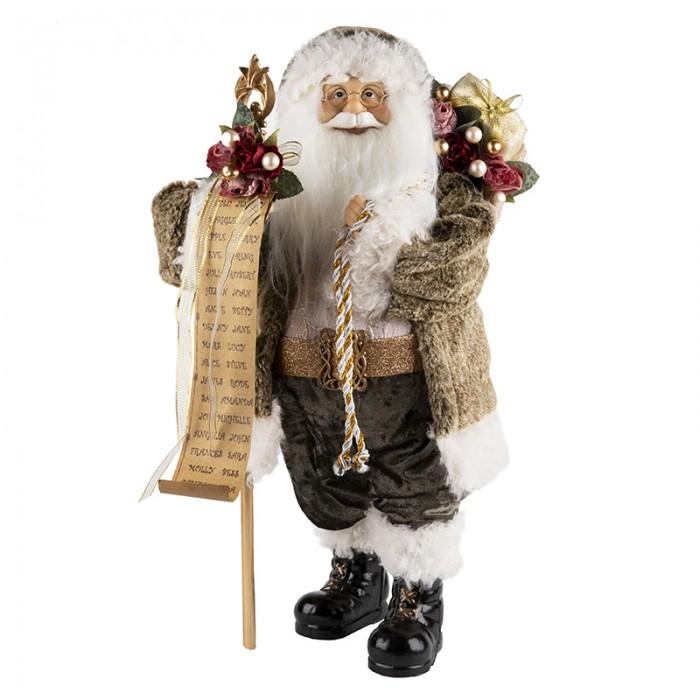 Новогодние украшения Maxitoys Дед Мороз в мягкой шубке с мешком 32 см