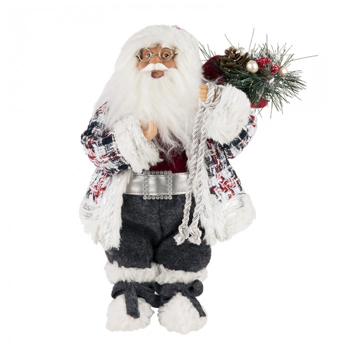 Новогодние украшения Maxitoys Дед Мороз в клетчатом кафтане 32 см