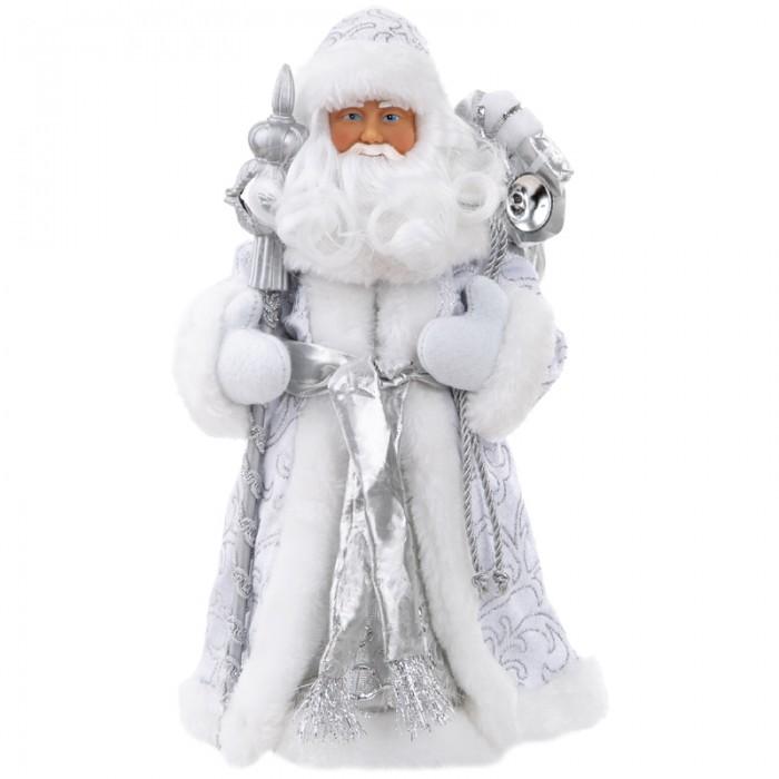 Картинка для Новогодние украшения Феникс Презент Декоративная кукла Дед Мороз в серебряном костюме 30.5 см
