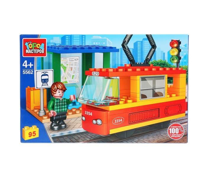 Картинка для Конструкторы Город мастеров Трамвай с остановкой, с фигуркой (95 деталей)