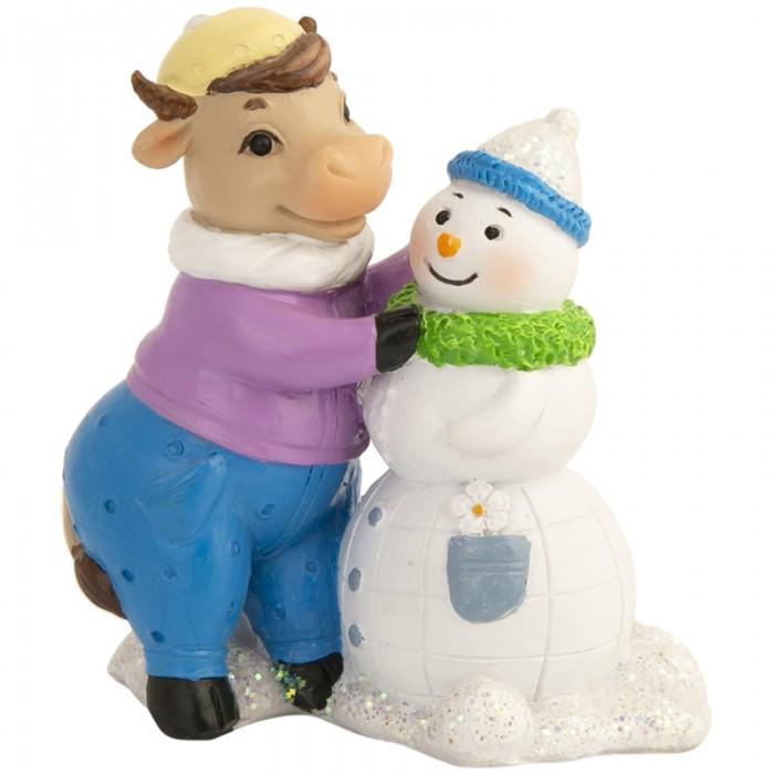 Новогодние украшения Феникс Презент Декоративная фигурка Коровка со снеговиком