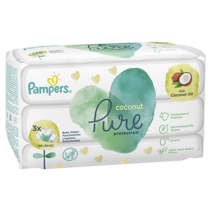 Фото - Салфетки Pampers Детские влажные салфетки Pure Protection Coconut 126 шт. салфетки pampers детские влажные салфетки sensitive 104 шт
