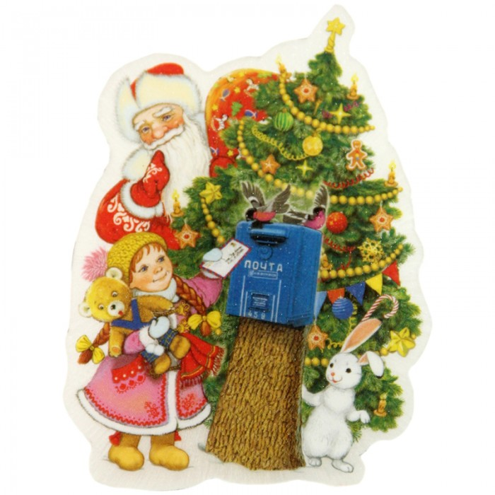 Новогодние украшения Феникс Презент Новогоднее оконное украшение со светодиодной подсветкой Почта Деда Мороза 12x8.5 см