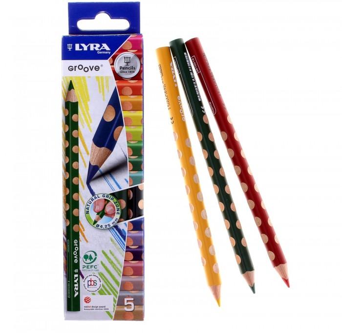 Карандаши, восковые мелки, пастель Lyra Groove цветные утолщённые 5 цветов lyra карандаш чернографитный groove graphit maxi