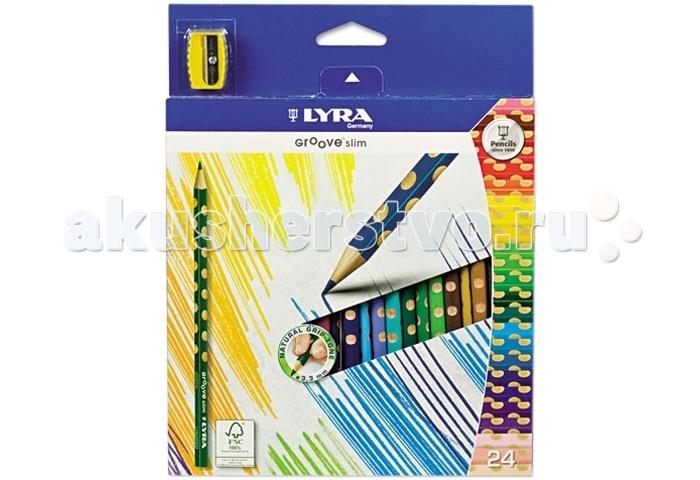 Lyra Groove Slim цветные с эргономичным захватом 24 цвета