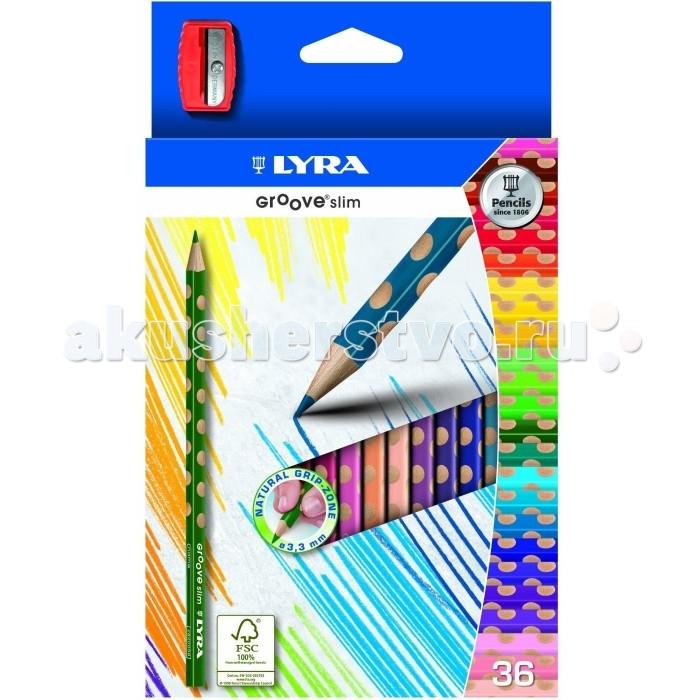 Карандаши, восковые мелки, пастель Lyra Groove Slim эргономичные 36 цветов lyra карандаш чернографитный groove graphit maxi