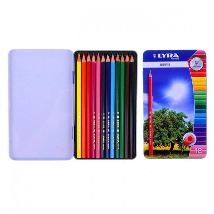 Карандаши, восковые мелки, пастель Lyra Osiris Цветные в металлической коробке 12 цветов lyra набор цветных карандашей super ferby 6 шт