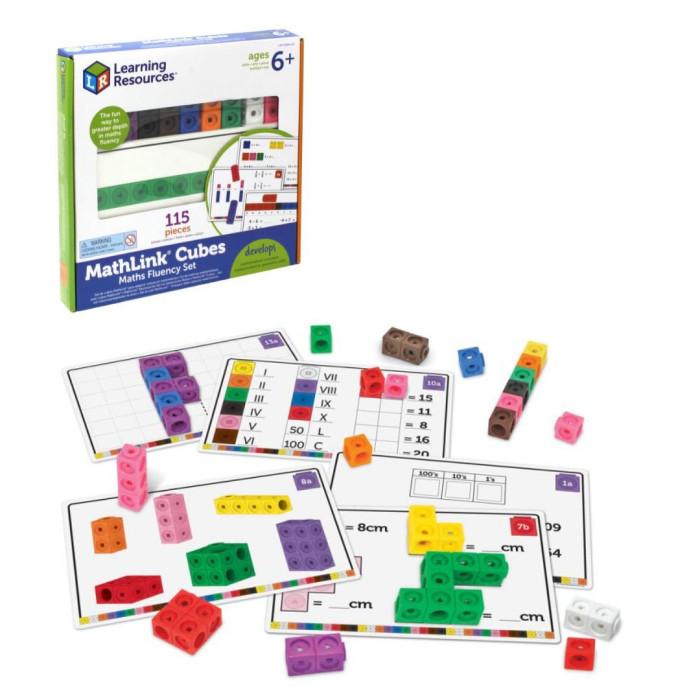 Картинка для Раннее развитие Learning Resources Игровой набор Соединяющиеся кубики Академия математики (115 элементов с карточками)