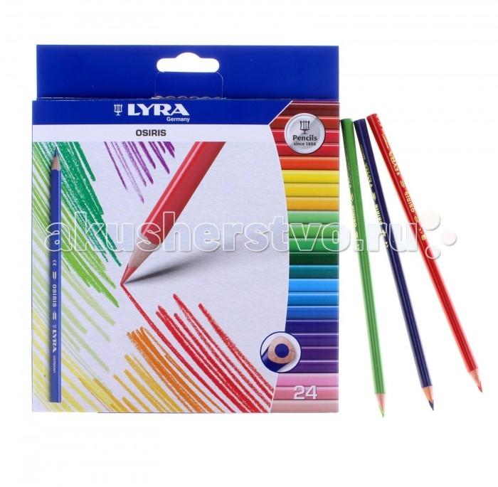 Карандаши, восковые мелки, пастель Lyra Osiris Цветные лакированные треугольное сечение 24 цвета карандаши восковые мелки пастель росмэн карандаши цветные маша и медведь 24 цвета