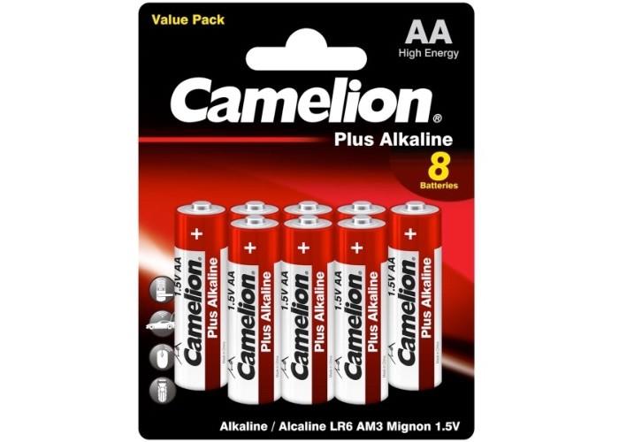 Батарейки, удлинители и переходники Camelion Батарейка Plus Alkaline (LR6) BL-8 батарейка aa camelion alkaline lr6 sp8 plus 8 штук