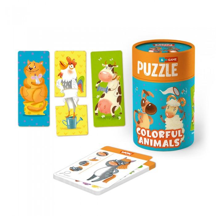 Mon Игровой набор Веселые зверята: пазлы и карточки с заданиями