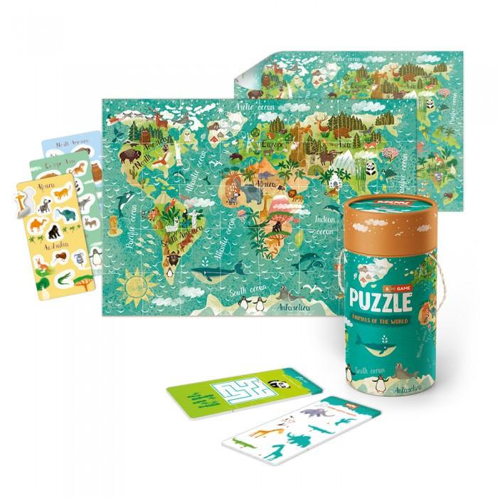 Mon Игровой набор Животные Мира: пазлы и карточки с заданиями
