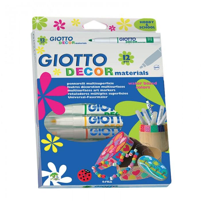 Развитие и школа , Фломастеры Giotto Decor Materials для декорирования 12 цветов арт: 102400 -  Фломастеры
