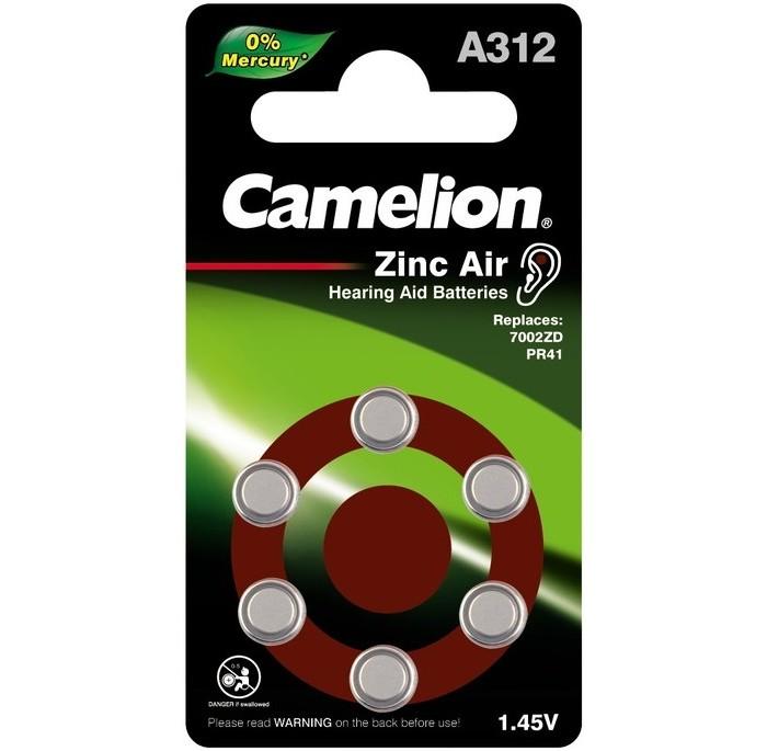 Батарейки, удлинители и переходники Camelion Батарейка для слуховых аппаратов Mercury Free ZA312 BL-6 недорого