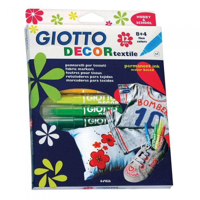 Развитие и школа , Фломастеры Giotto Decor Textile Специальные для декорирования по ткани 12 цветов арт: 102409 -  Фломастеры