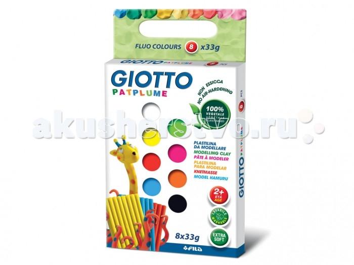 Всё для лепки Giotto Patplume пластилин 8 цветов х 33 г флуорисцентные цвета всё для лепки giotto patplume восковой пластилин классические цвета 10 цветов х 50 г