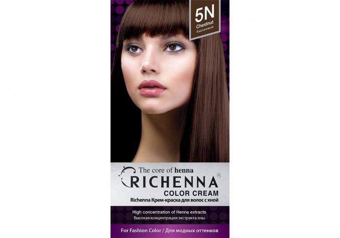 Косметика для мамы Richenna Крем-краска волос с хной № 5N Chestnut