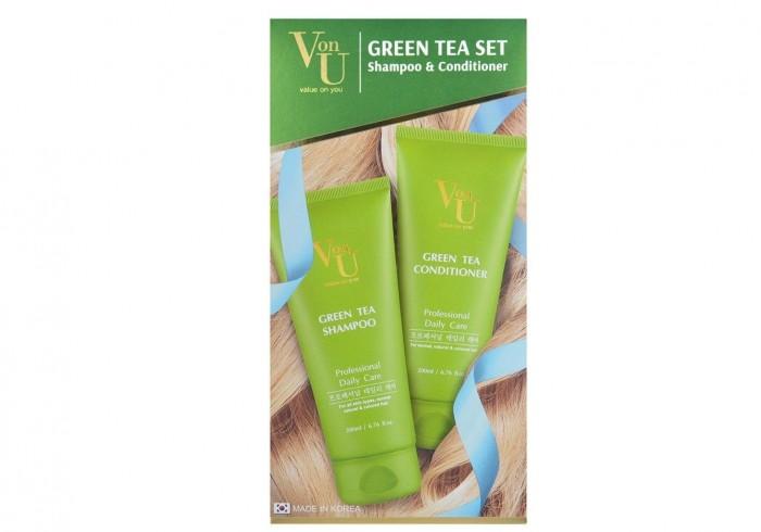 Косметика для мамы Von-U Набор Green Tea шампунь 200 мл + кондиционер 200 мл ducray неоптид лосьон от выпадения волос для мужчин 100 мл
