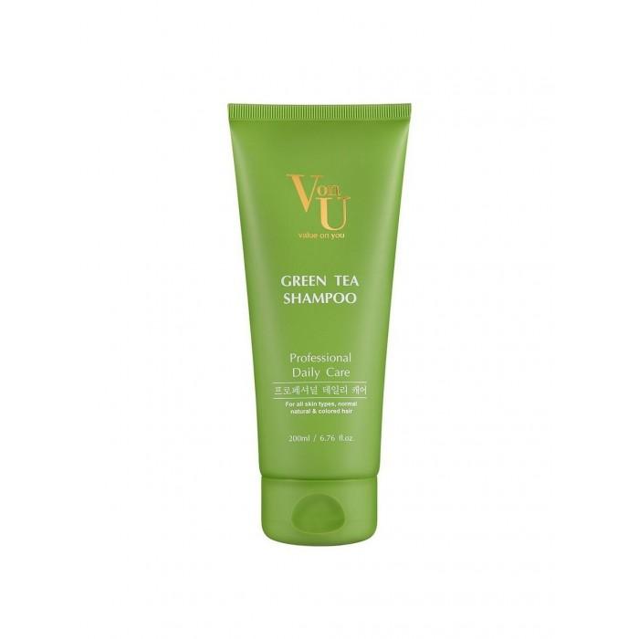 Косметика для мамы Von-U Шампунь для волос с зеленым чаем Green Tea Shampoo 200 мл ducray неоптид лосьон от выпадения волос для мужчин 100 мл
