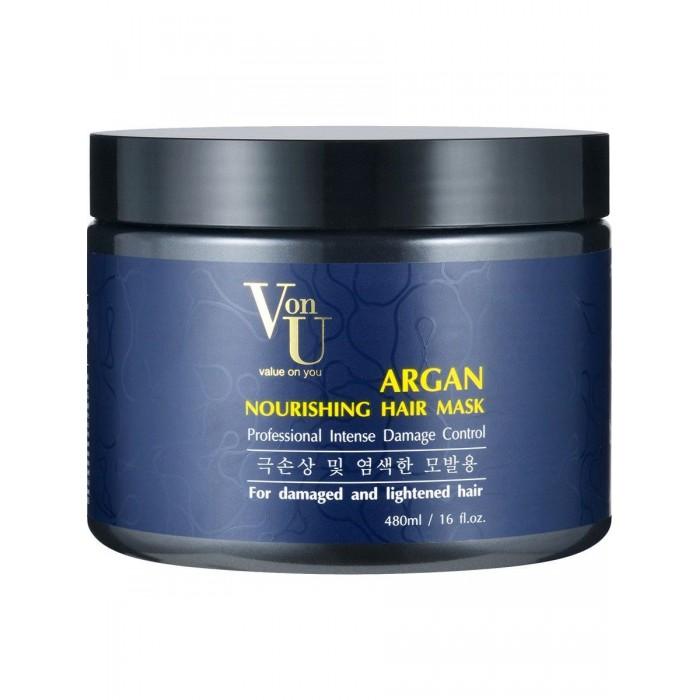 Косметика для мамы Von-U Маска для волос питательная с аргановым маслом Agran Nourishing Hair Mask 480 мл недорого