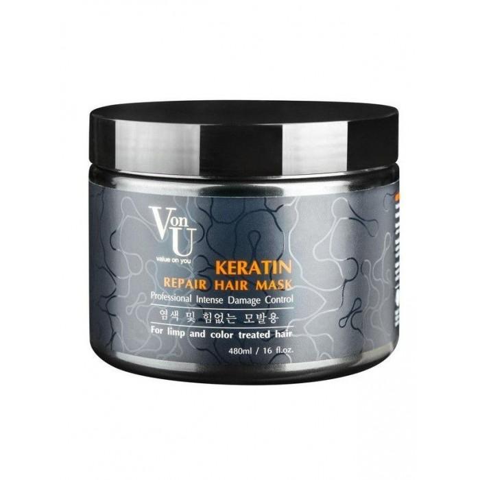 Купить Косметика для мамы, Von-U Маска-реконструктор с кератином Keratin Repair Hair Mask 480 мл