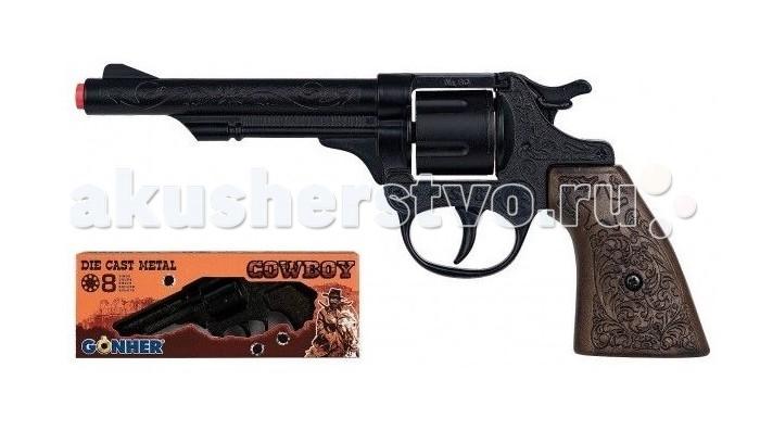 Игрушечное оружие Gonher Игрушка Ковбойский револьвер (черный) 80/6 игровой набор gonher ковбойский 2 револьвера на 8 пистонов 2 кобуры звезда шерифа 158 0