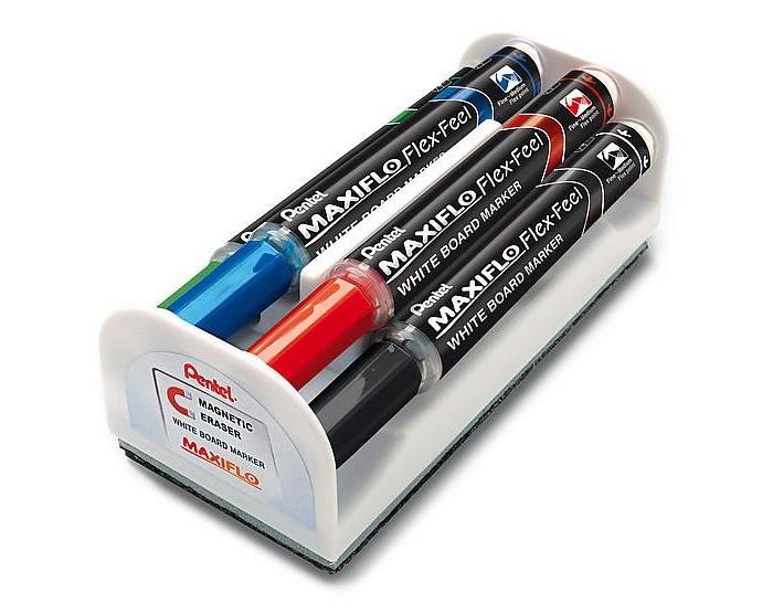 Картинка для Pentel Набор маркеров Maxiflo Flex-Feel для доски с магнитной губкой 4 шт.