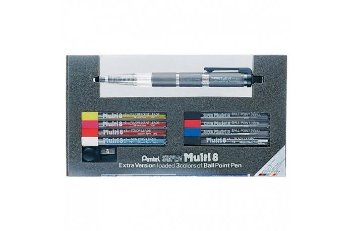 Картинка для Pentel Набор Super Multi 8: ручка-карандаш, 5 наборов цветных грифелей 2 мм, 3 набора стержней