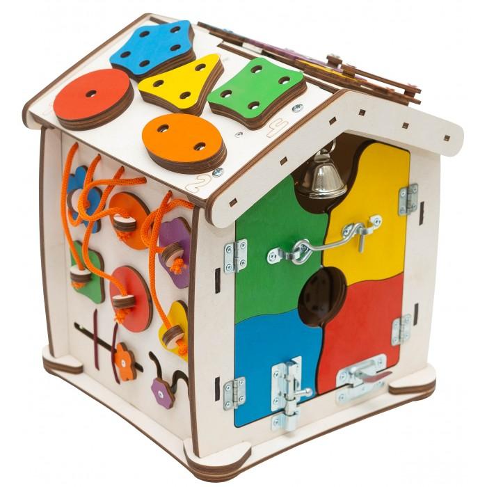 Деревянная игрушка Evotoys Бизиборд домик Знайка Семицвет Малыш